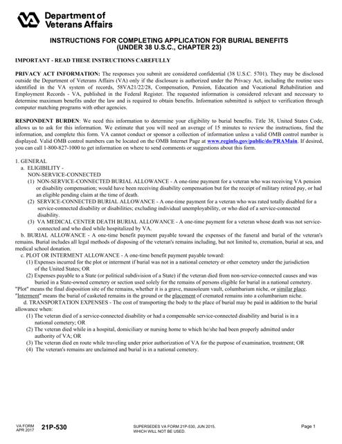 VA Form 21P-530 Fillable Pdf