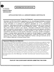 "FAA Form 8130-6 ""Application for Us Airworthiness Certificate"""