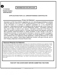 FAA Form 8130-6 Application for Us Airworthiness Certificate