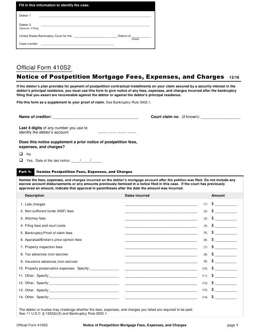Official Form 410S2  Printable Pdf