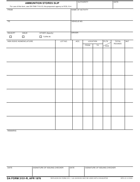 DA Form 3151-r Printable Pdf