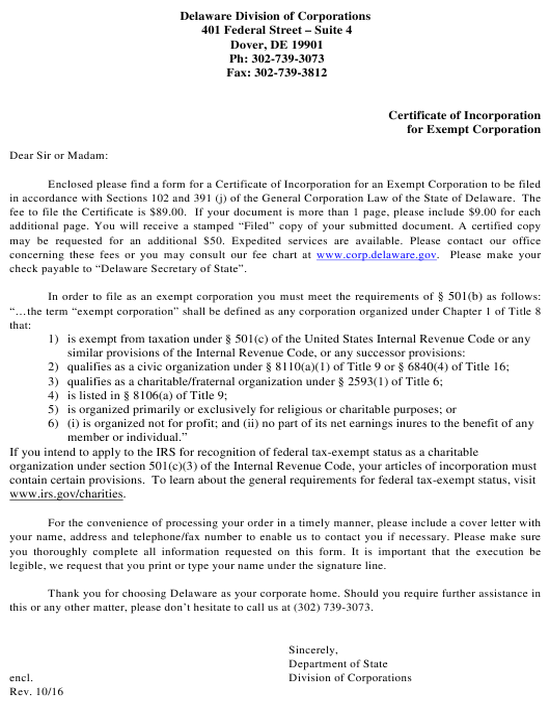 corporation delaware incorporation certificate nonprofit pdf exempt start template organization tax 501c3 fill templateroller company irs docs business inc