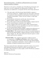 """""""Certificate of Registration of a Foreign Limited Liability Company"""" - Delaware, Page 2"""
