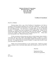 """Certificate of Amendment of Certificate of Incorporation"" - Delaware"