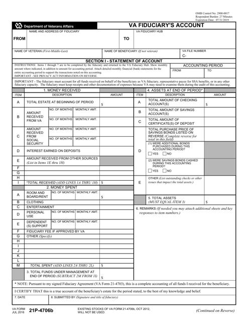 VA Form 21P-4706B  Printable Pdf