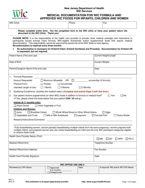 Form WIC-11  Printable Pdf