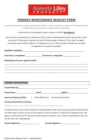"""Tenancy Maintenance Request Form - Nanette Lilley Property"""