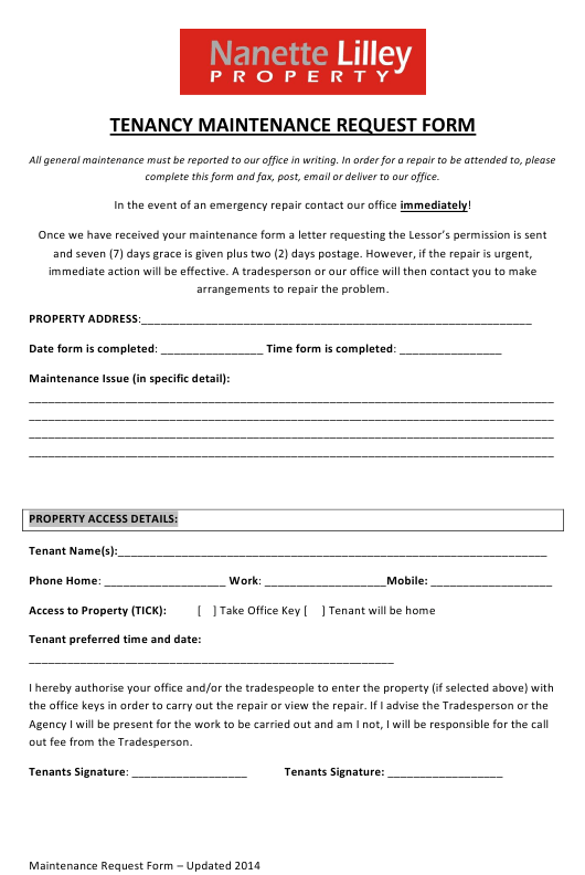 """Tenancy Maintenance Request Form - Nanette Lilley Property"" Download Pdf"