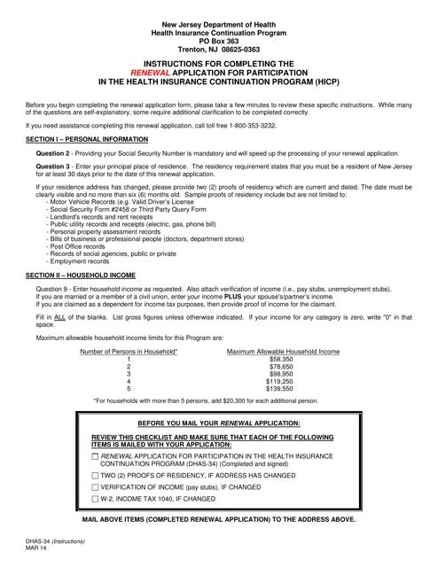 Form DHAS-34  Printable Pdf