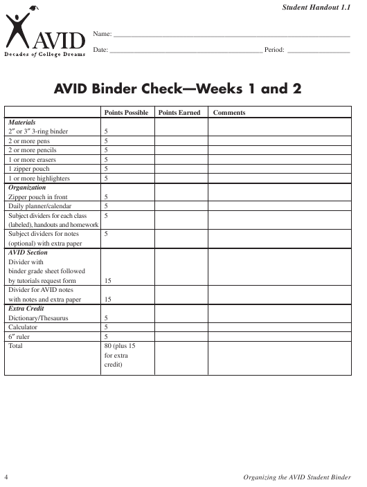 Avid Binder Check Template - Weeks 1 and 2 Download