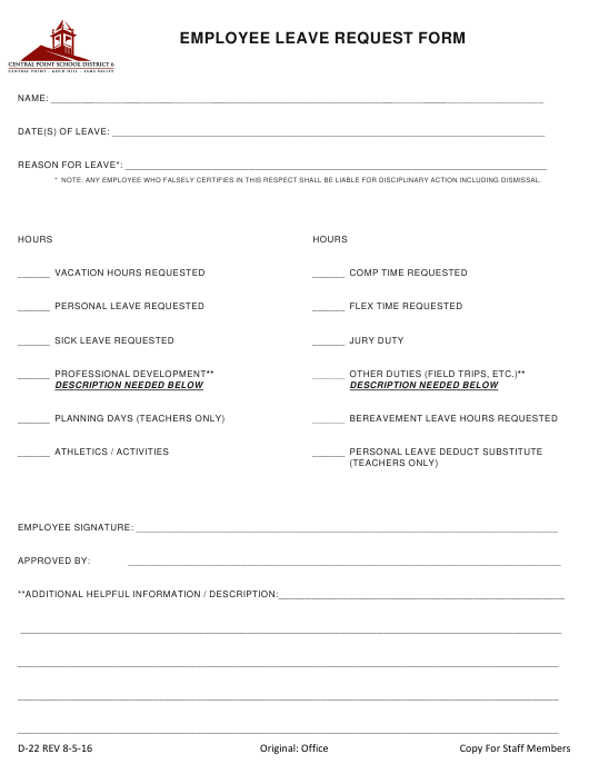 """Employee Leave Request Form - Central Point School District 6"" Download Pdf"