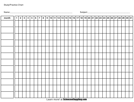 """Study/Practice Chart Template"" Download Pdf"
