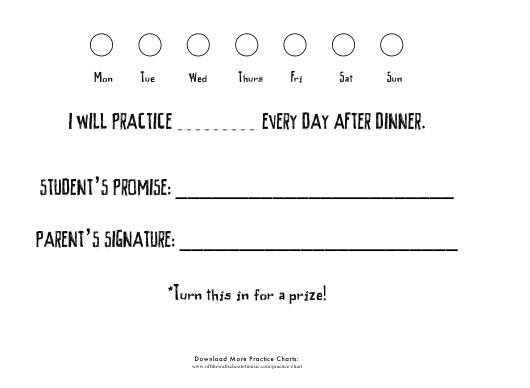 Weekly Practice Chart Template With Signature Download Pdf