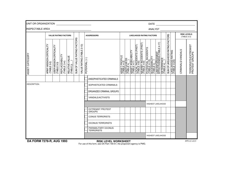 DA Form 7278-r  Printable Pdf