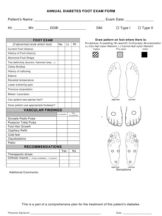 annual diabetes foot exam form download printable pdf