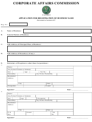 """Form CAC/BN/1 """"Application for Registration of Business Name Pursuant to Section 657"""" - Nigeria"""