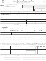 Form IBR-1 Idaho Business Registration Form - Idaho