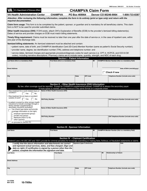 VA Form 10-7959a Fillable Pdf