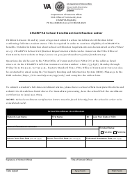 """CHAMPVA School Enrollment Certification Letter, School Enrollment Certification Form"""