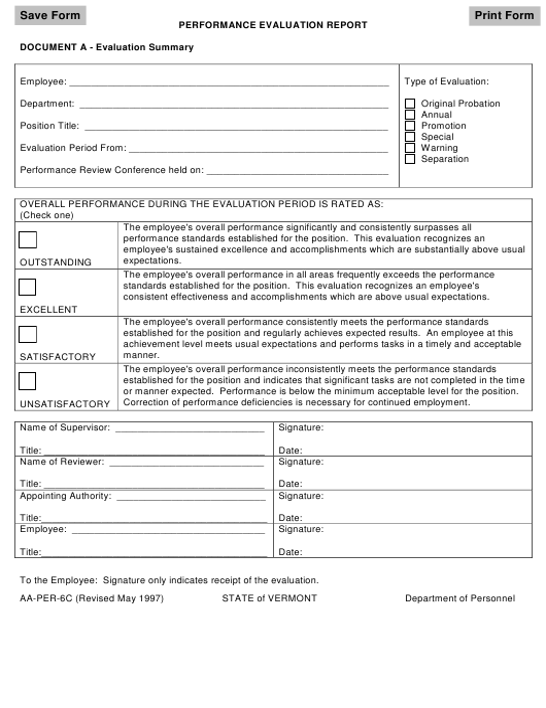 """Performance Evaluation Report Form"" - Vermont Download Pdf"