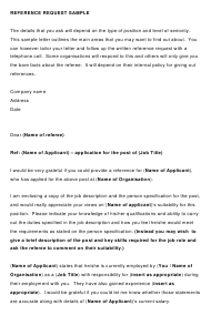 """""""Sample Reference Request Letter Template"""""""