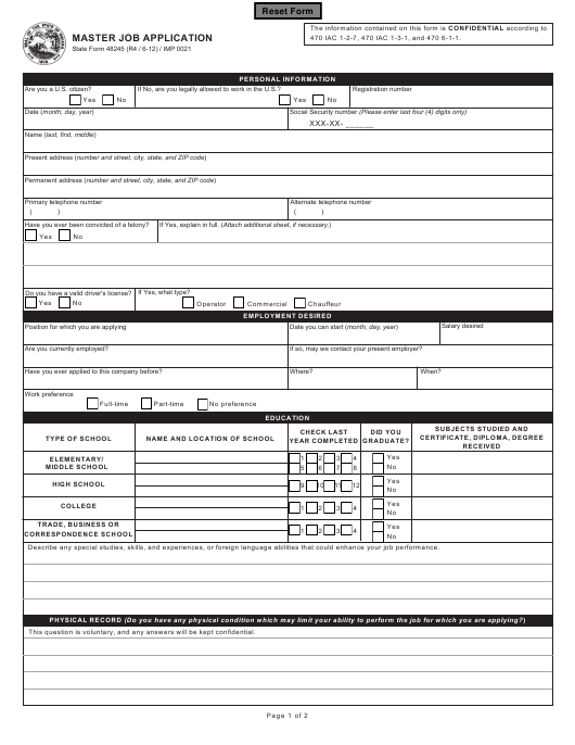 State Form 48245 Fillable Pdf