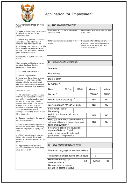 """Application Form for Employment"" - South Africa Download Pdf"