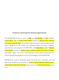 """Commercial Property Rental Agreement Template"""