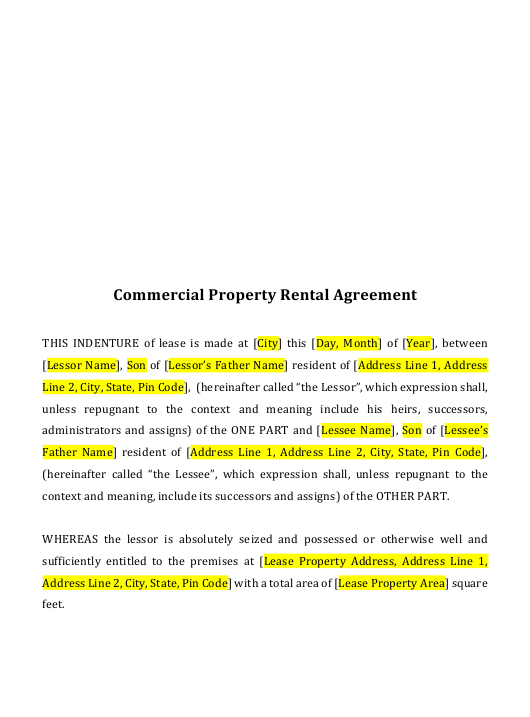 Commercial Property Rental Agreement Template Download