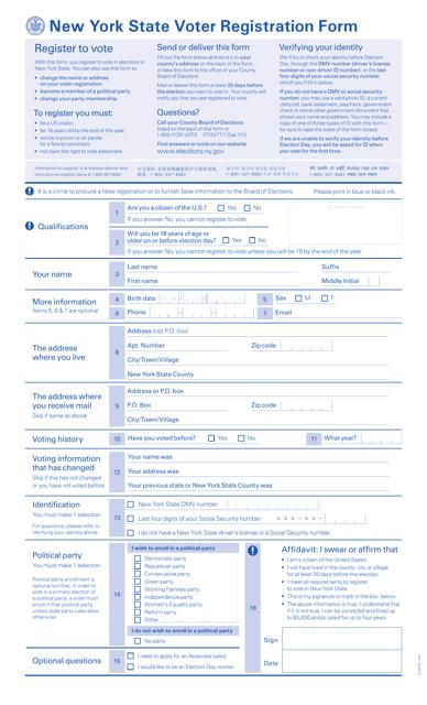"""""""Voter Registration Form"""" - New York Download Pdf"""