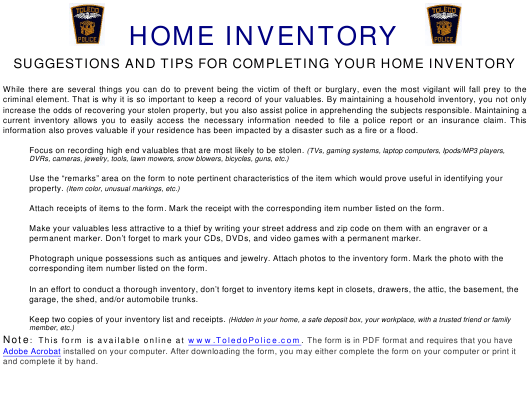 """Home Inventory Spreadsheet - Toledo Police"" - Toledo (Spain), Spain Download Pdf"