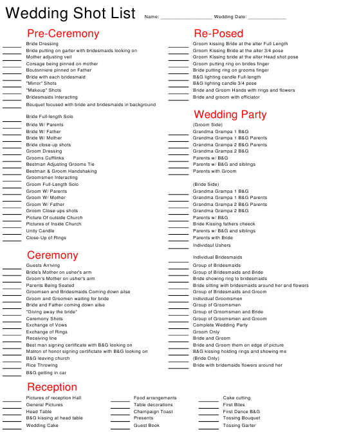 """Wedding Shot List Template"" Download Pdf"