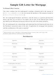 """Mortgage Gift Letter Template"""