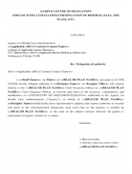 Sample Letter of Delegation for Use With Attestation/Certification of Reports, Data, Mpi Plans, Etc. - Florida Agency for Health Care Administration