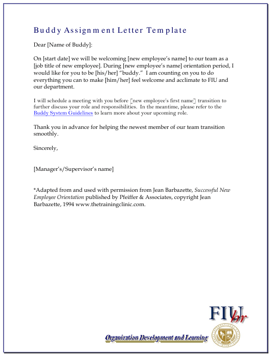 """Buddy Assignment Letter Template - Fiu"" Download Pdf"