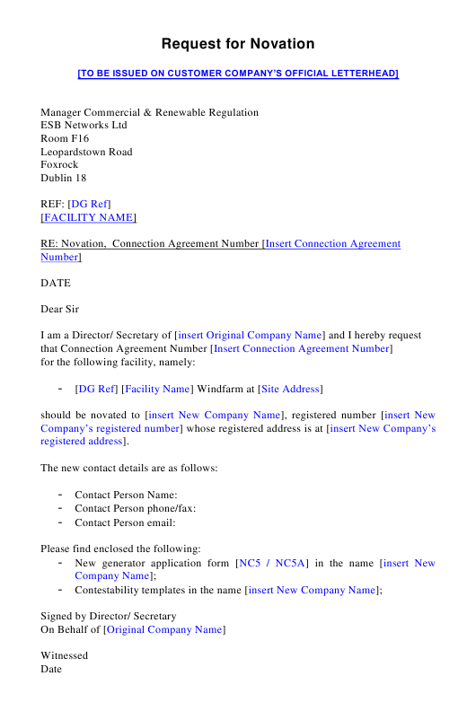 "Sample ""Re-assignment/Novation Letter Template"" - Ireland Download Pdf"