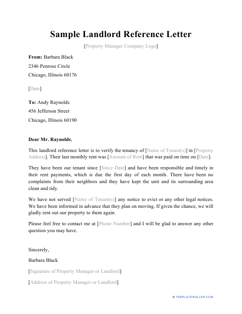 """Sample """"Landlord Reference Letter"""" Download Pdf"""