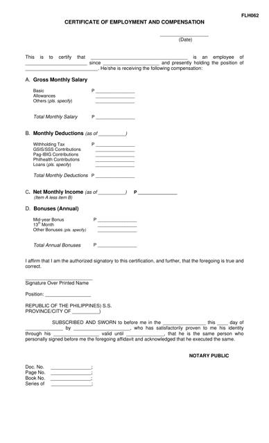 Form FLH062  Printable Pdf