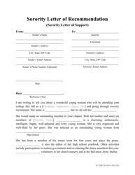 Sample Sorority Letter of Support