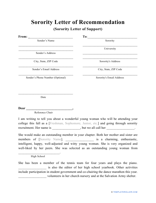 sample sorority letter of support download printable pdf