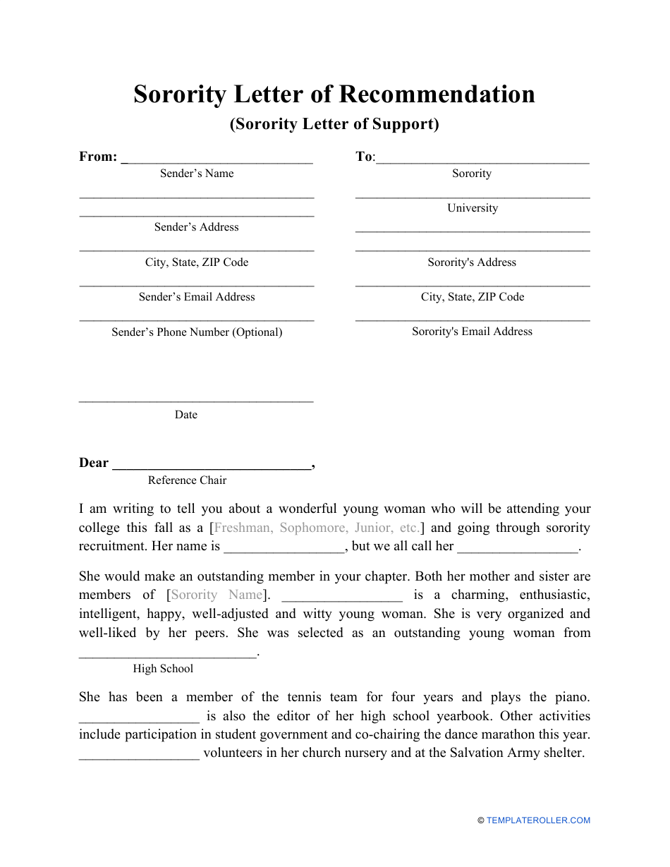 """Sorority Letter of Recommendation Template"" Download Pdf"