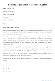 "Sample ""Character Reference Letter"""