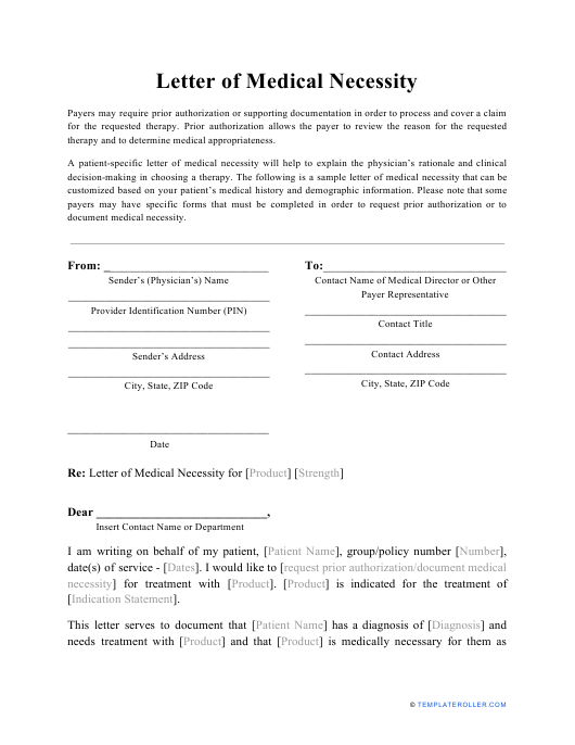 """Medical Necessity Letter Template"" Download Pdf"