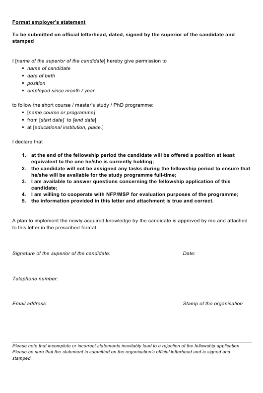 "Sample ""Employer's Statement Template"" Download Pdf"