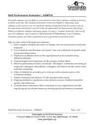 Sample Staff Performance Evaluation Form - Greenlights for Nonprofit Success