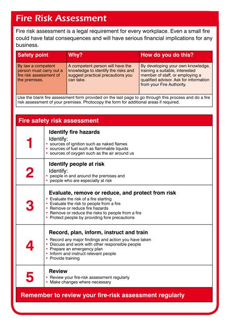 """Fire Risk Assessment Template"" Download Pdf"