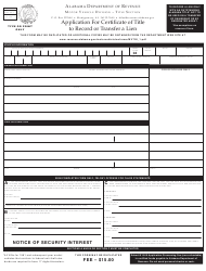 Form MVT-20-1 Application for Certificate of Title to Record or Transfer a Lien - Alabama