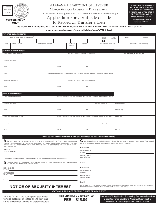 Form MVT-20-1 Fillable Pdf