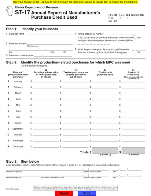 Form ST-17  Printable Pdf