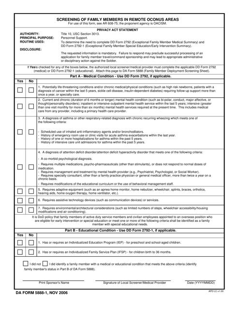 DA Form 5888-1 Fillable Pdf